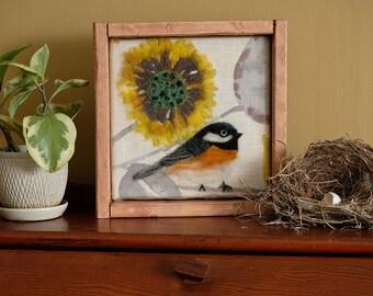 Chickadee felted art