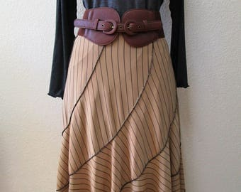 Oatmeal long skirt with black stripe and ruffled edging plus made in U.S.A (v47)