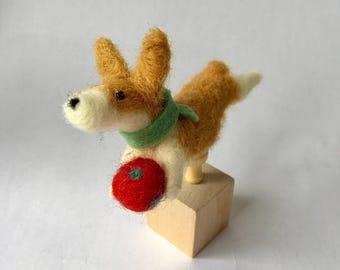 Mini Needle Felted Pembroke Welsh Corgi Dog on a Cube