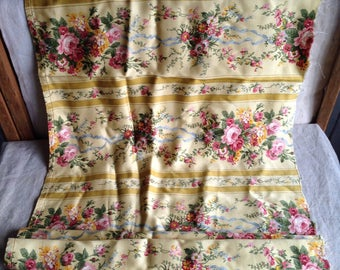 Vintage French Fabric, Yellow Floral Soft viscose fabric , Furnishing Projects/ Home Furnishings & Decor