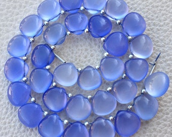 4 Matched Pair, NATURAL HOLLY BLUE Chalcedony Smooth Heart Shape Briolettes, 10x10mm size.Superb Item at Low Price