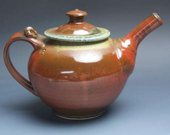 Handmade teapot stoneware tea pot variegated green and iron red 40 oz 3982
