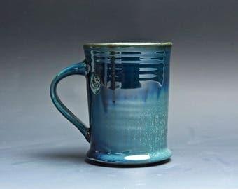 Pottery coffee mug, ceramic mug, stoneware tea cup deep blue 14 oz 4019