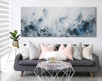 Original extra Large Abstract Painting landscape horizontal Painting white blue black painting -morning light- Elena