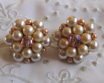 Vintage Gold Tone Faux Pearl and Pink Glass Beaded Clip On Earrings from Japan