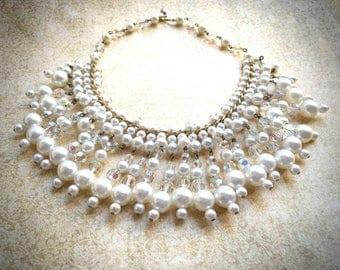 Dangle Pearl Necklace, Vintage Bridal Necklace