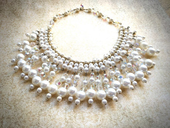 Dangle Pearl Necklace, Vintage Bridal Necklace