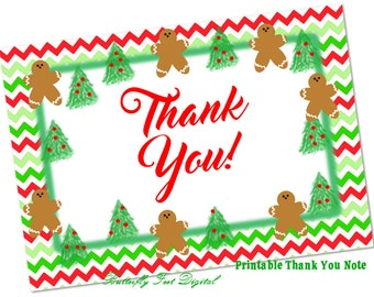 Printable Christmas Thank You Note Card, Red and Green Chevron, Gingerbread Men, Trees, Instant Download