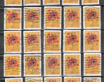 25 LOVE BOUQUET Used & Cancelled U.S. 37c Postage Stamps (Red Poppy Bouquet on a Yellow Background)