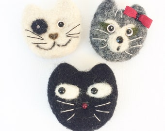 Cat broch- Original jewelry- needel felted cats - Fans of cats - Perfect gift for friens