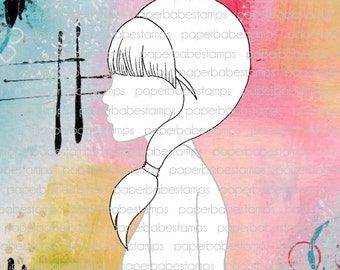 Mixed Media Templates ~ Female Profile Pony & Fringe - Paperbabe Stamps - Mylar templates - For mixed media and paper crafting