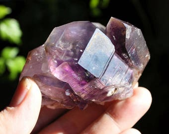 Brandberg Smokey Amethyst Purple Quartz Crystal Cluster with Phantoms Specimen