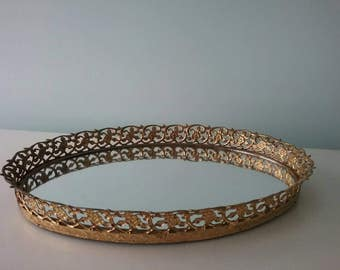 Vintage Mirror Gold Metal Vanity Tray Hollywood Regency Wedding, Makeup Tray