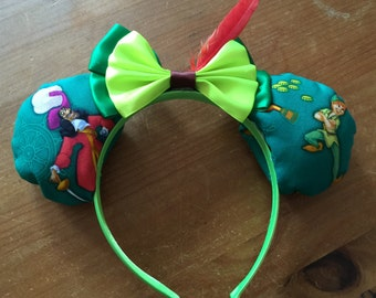 Peter Pan inspired Mickey/Minnie Disney ears