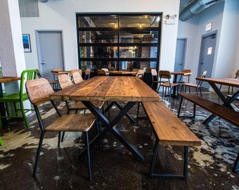 Rustic reclaimed wood dining table, pub table with steel X frame legs in choice of sizes or finishes