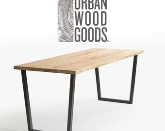 "Loft Reclaimed Wood Desk, natural finish/1.65"" thick wood top in pic 1. Choose size, style and wood thickness/finish."