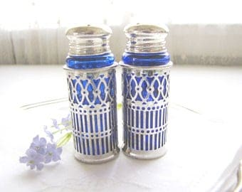 Vintage Silver and Cobalt Blue Salt and Pepper Shakers FB Rogers from AllieEtCie