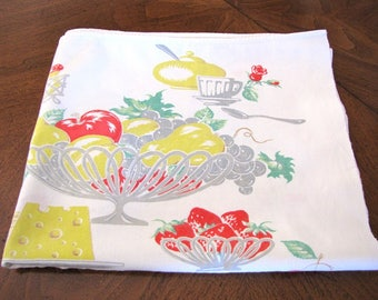 Vintage Tablecloth 1940s Yellow Grey Wine Cheese Apples Cherries Large Heavy Cotton from AllieEtCie