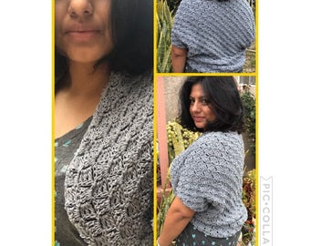Grey Crochet Cocoon Shawl