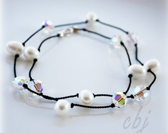Crystal and Freshwater Pearl on Silk Cord Necklace