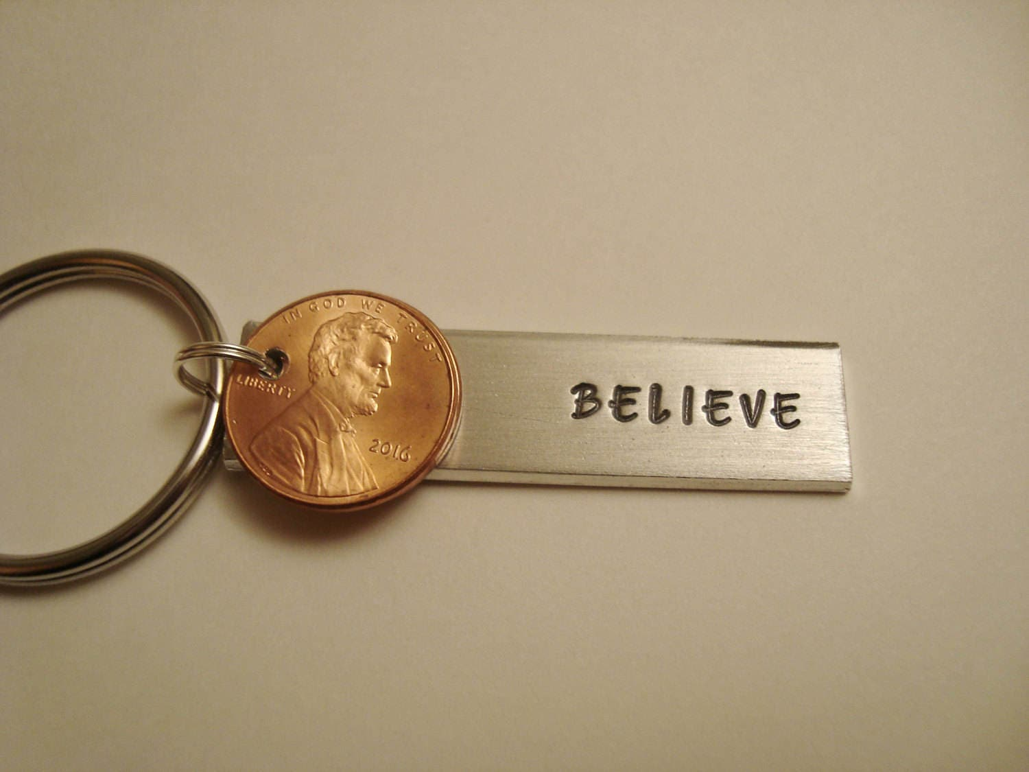 Hand Stamped Penny Keychain Personalized Special Year