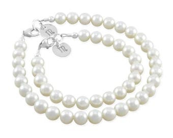 Mommy and Me Pearl Bracelets Sterling Silver Mother Daughter, mothers day Jewelry personalized initial disc matching present For Mom. MILA