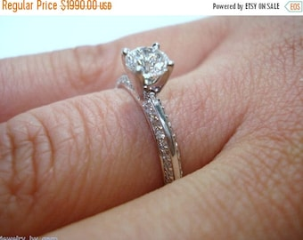 ON SALE Diamond Engagement Ring 0.73 Carat 14K White Gold Handmade Micro Pave Certified
