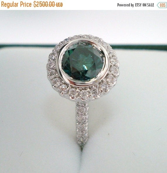 ON SALE Fancy Green & White Diamond Halo Engagement Ring 14K White Gold 1.30 Carat Bezel and Micro Pave Set