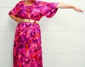 SPRING SALE 60's Bold Neon Summer Gown Painted Floral Print Two Potato XL/1Xl
