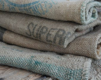 French Upholstery fabric vintage Grain Sack, Farmhouse decor, Grain sack planter.