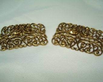 Vintage Antique Gold Filagree  Shoe Clips.