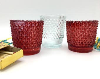 Hobnail Glass Votive Holders, Vintage Candle Holders, Set of Three, Red and Clear