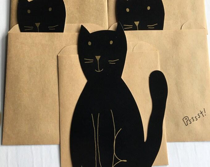 Vintage Hallmark Birthday Party Invitations Black Cat Bag