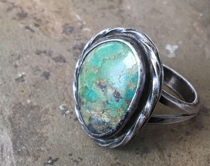 Old Pawn Turquoise Sterling Ring Vintage Southwest