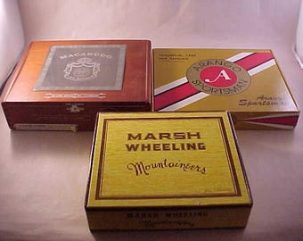 3 Cigar Boxes Wood Macanudo Dominican Republic and Carboard Arango Sportsman and Marsh Wheeling Mountaineers