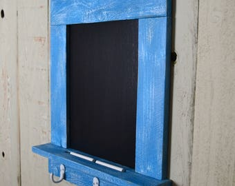 Rustic Chalkboard Organizer, Message Center, Key Holder, Entryway Organizer, Farmhouse Chalkboard, Salvaged Wood Chalkboard, Ocean Blue