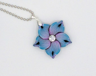 Purple and Blue Flower Necklace, 1.5 Inches Diameter; Aqua and Lavender Plumeria; Polymer Clay Pendant; Floral Necklace;  Style #: PBF02