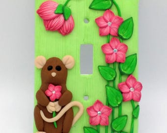 Brown Mouse with Pink Flowers Switchplate; Single Light Switch Cover; Springtime Theme; Polymer Clay Switch Plate; Style #:PIF05