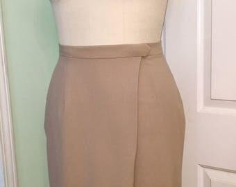 Niagara Wrap Skirt Taupe Wool Pencil Wiggle Pinup Plus Lining size L Large to XL