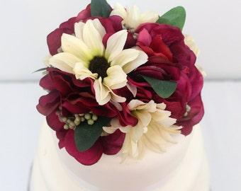Wedding Cake Topper - Dark Fuchsia Hydrangea, Ivory Daisy Silk Flower Cake Topper, Wedding Cake Flowers, Fake Flower Topper