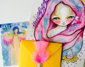 Soul Painting - soul portrait, watercolor portrait, custom art, mixed media art, guidance, reading, life purpose