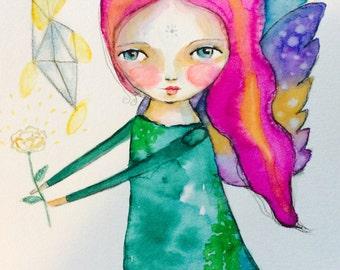 "Raibow Angel - watercolor original painting, Angel art, girl illustration,whimsical art, mixed media art, colorful art, rose, 8 x 11"""