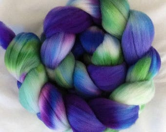 "Hand Dyed Falkland Top 4 Oz.  ""Cool Spots"" for Spinning or Felting"