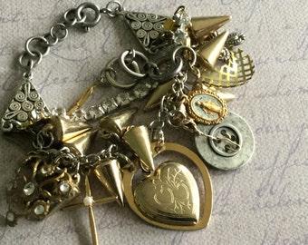 Repurposed metal heart locket charm bracelet,multistrand bracelet,one of a kind,mixed metal bracelet,refurbished junk treasures