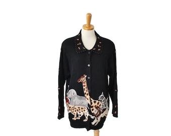 sale // Vintage 90s Safari Animal Sweater - Cardigan Women 14 16 Novelty - Arriviste, zebra, elephant
