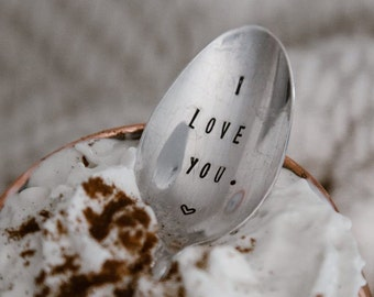 I Love You - Hand Stamped Vintage Coffee Spoon for your Coffee Lovin' Lover