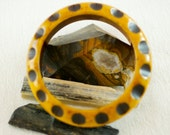 Vintage Rare Collectible Peanut Butter Black Polka Dot Over Dyed Carved Bakelite Bangle Bracelet  .....6175