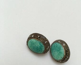 Chinese Peking Glass Silver Filigree Screwback Earrings