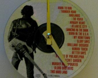 Bruce Springsteen clock. CD clock. Rock clock. Music clock. Recyled CD.