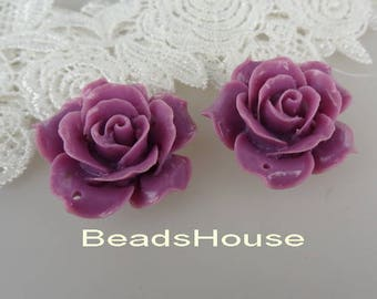 20% off: 657-00-CA  2pcs Pretty Large Rose Cabochon with Hole, 34mm - Purple